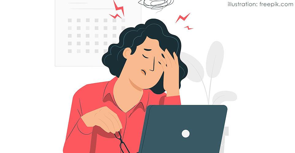 Ilustração de mulher com enxaqueca no trabalho