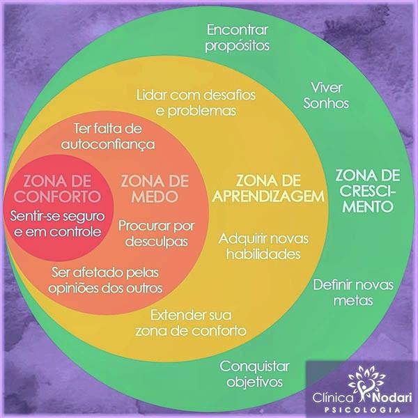 Diagrama colorido, identificando as zonas de conforto e desafio para se atingir a autovalorização