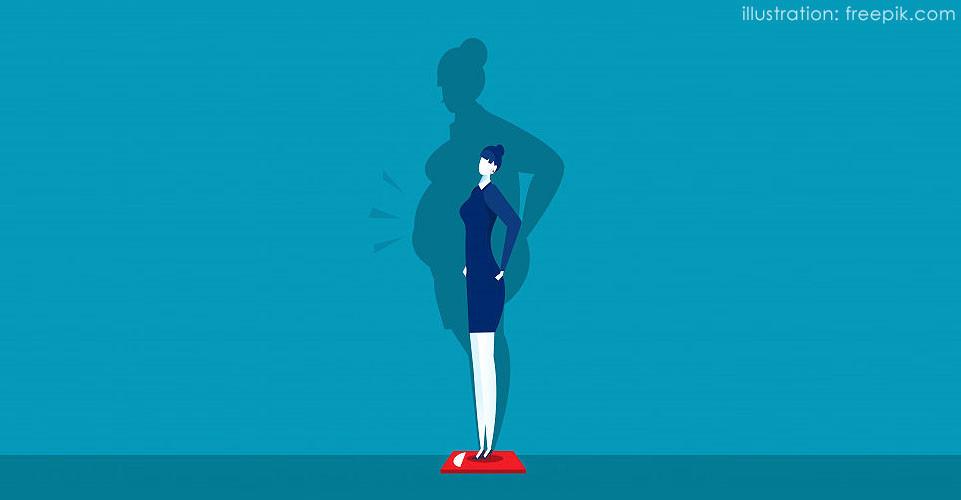 Ilustração de mulher magra que se vê gorda