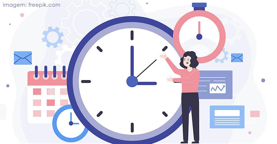 Ilustração de mulher com vários relógios e agenda