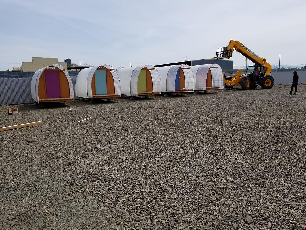 conestoga huts, hayden homes, sleeping center, walla walla