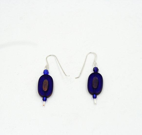 Cobalt blue glass bead earrings.