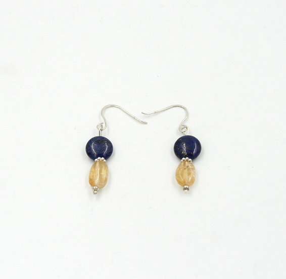 Lapis and Citrine bead earrings.