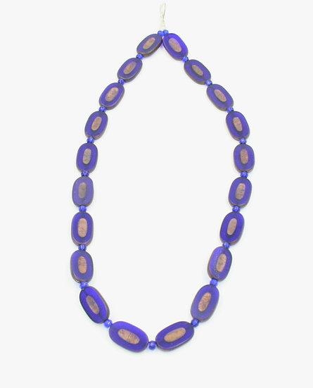 Cobalt blue glass bead necklace