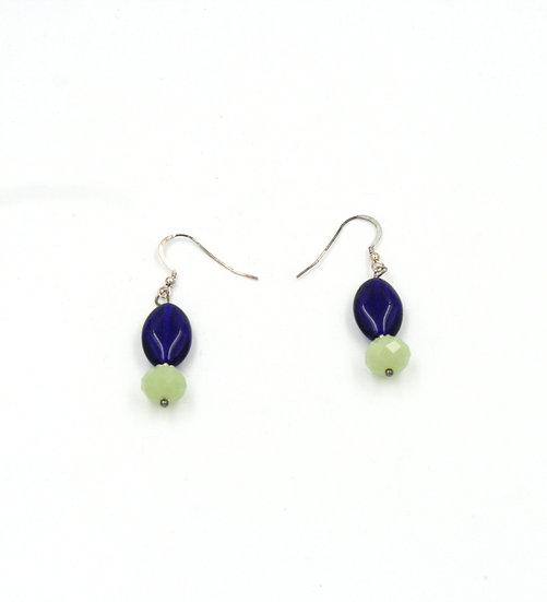 Cobalt blue and green Czech bead earrings.