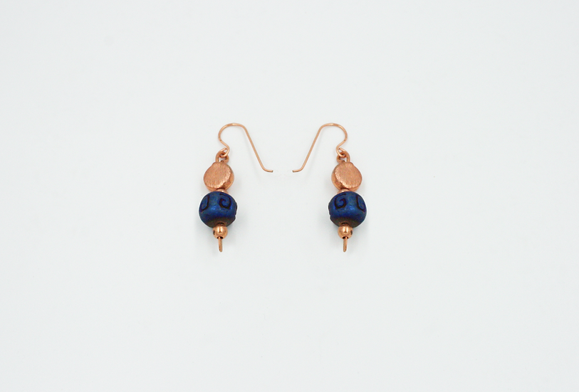 Genuine Copper and Ceramic Bead Earrings