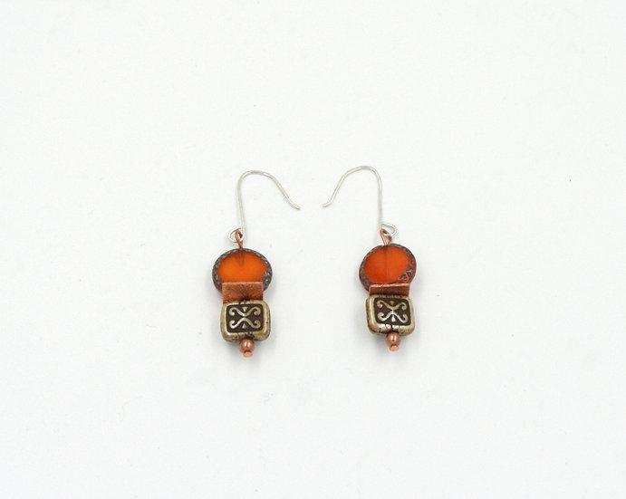 Orange and brown Czech bead earrings.