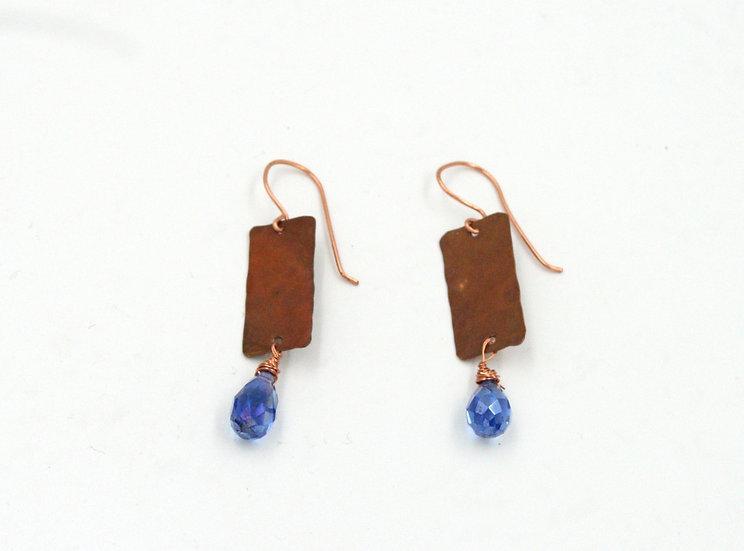 Copper plank with faceted blue teardrop bead earrings