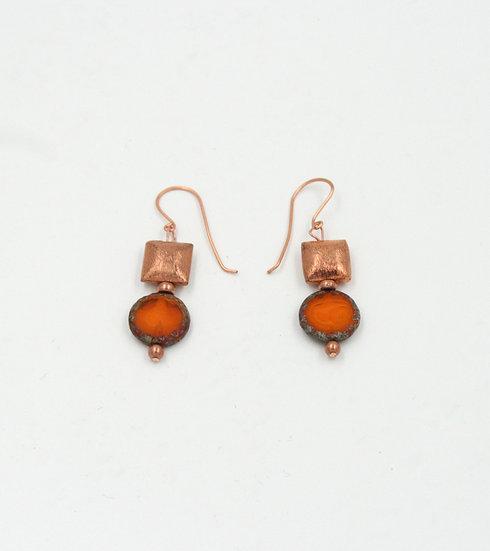 Copper and Orange Czech bead earrings.