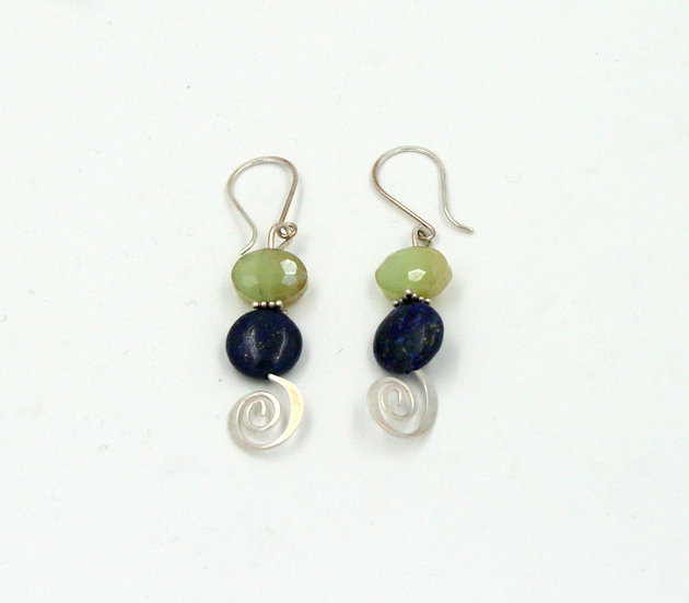 Lapis and Czech glass bead earrings