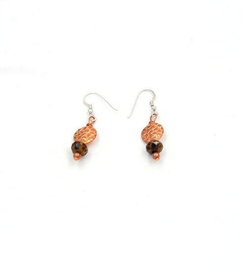 Copper and Brown Czech bead earrings