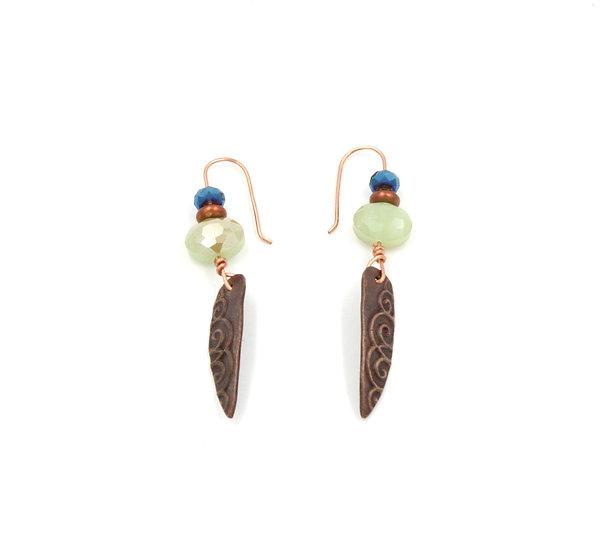 Copper Ornate Shard with green Czech glass bead earrings.