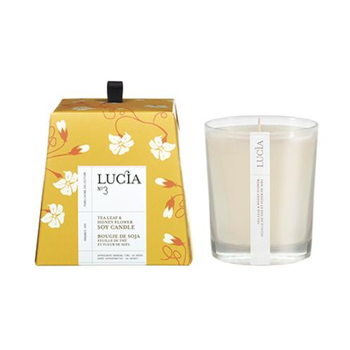 Pure Living - Lucia No 3 Tea Leaf + Honey Flower candle 50 Hours