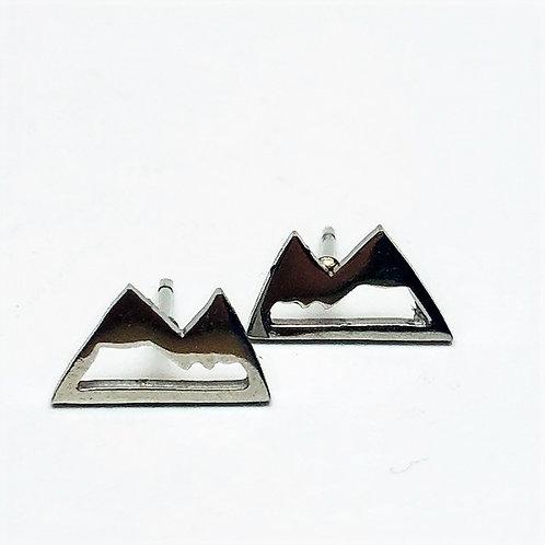 Wonderland - mountain stud earrings silver