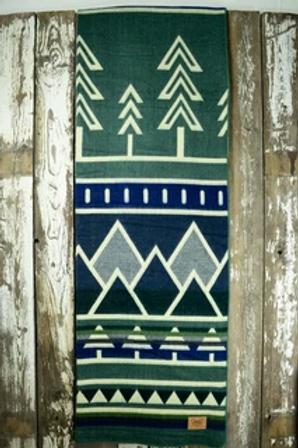 "Heartprint Threads Queen Blanket - 80 x 92"" tree line colorado blue"