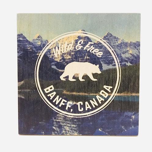 Wood Coaster - Banff Bear Logo Wild & Free