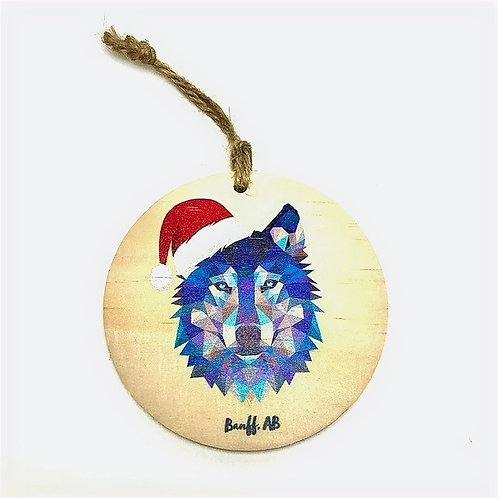 Wood Ornament - Geometric Wolf