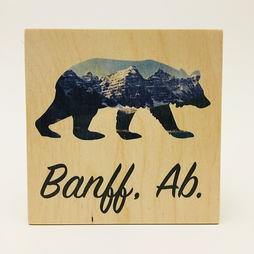 Wood Coaster - Banff Bear Silhouette