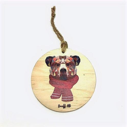Wood Ornament - Geometric Bear