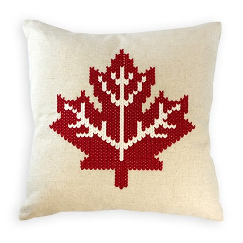 Maple Leaf cushion red