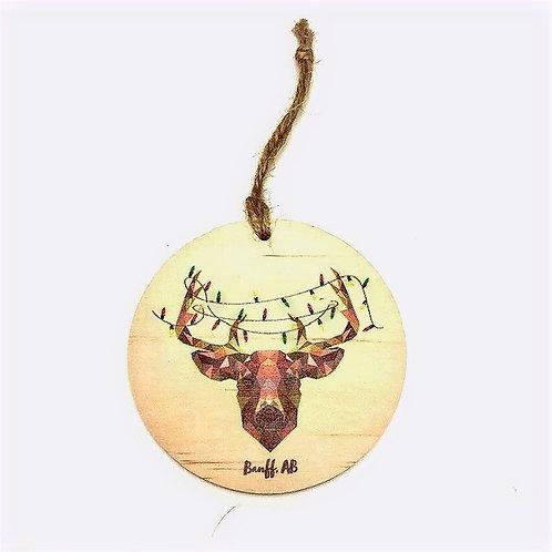 Wood Ornament - Geometric Deer