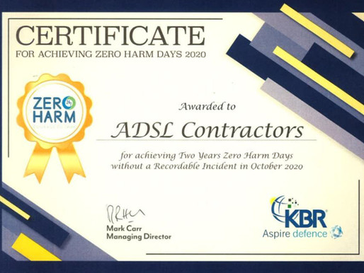 ADSL's Contractors reach a significant mile stone with regards to Health and Safety.
