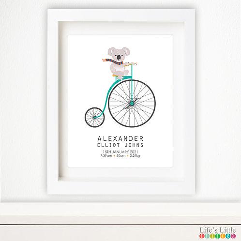 Koala Unicycle birth print