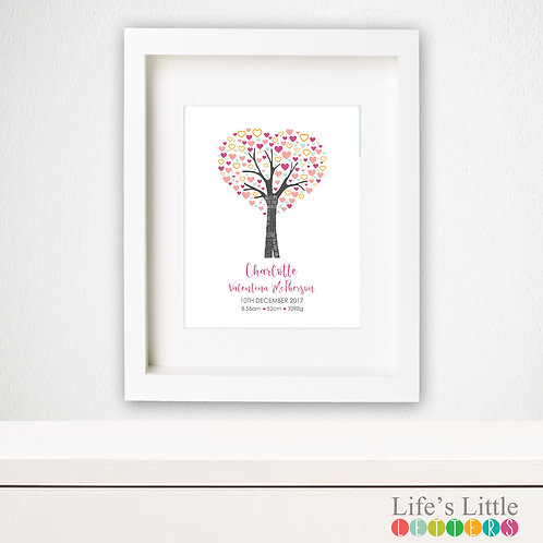 Heart Tree birth print