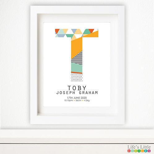 Letter birth print