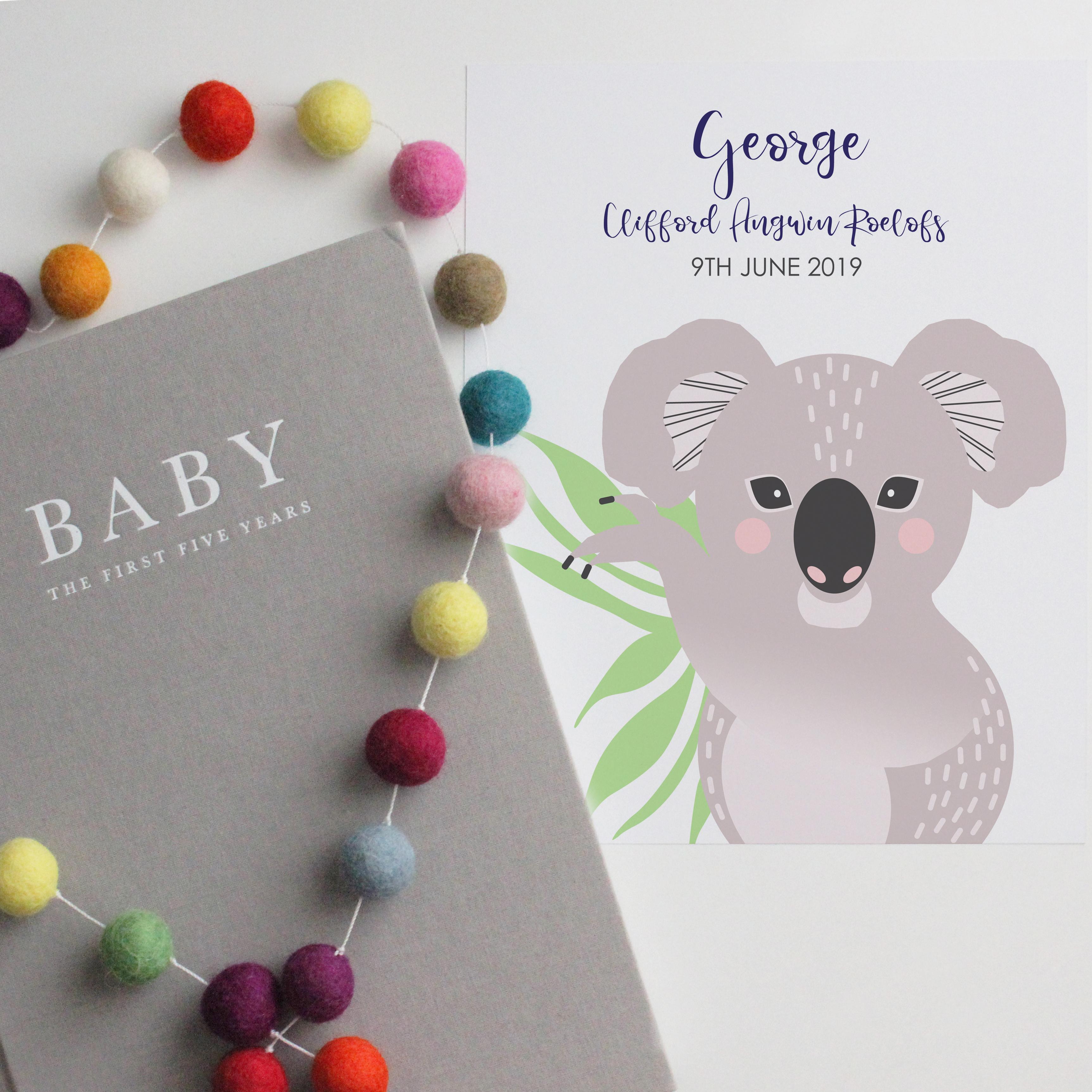 Baby koala birth print