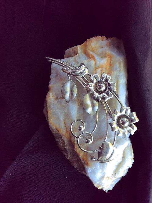 Vintage Spray Flowers, Silvertone Jewelry 56