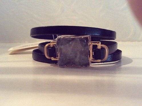 Black Drusy Leather Bracelet, Jewelry 10
