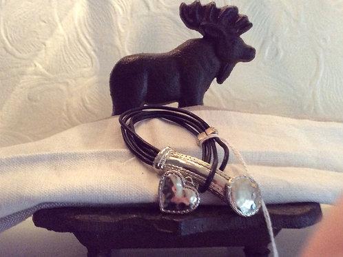 Black Cord, Silvertone Heart Clasp, Bracelet, Jewelry 35