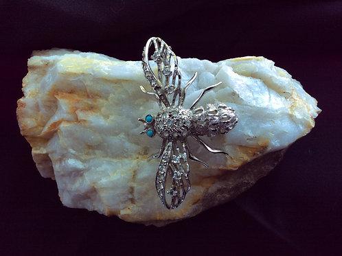 Vintage Bee, Silverstone, Rhinestone Body, Blue Beaded Eye's Brooch, Jewelry 28