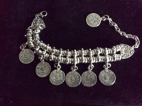 Coin Bracelet, Silvertone,  Jewelry 57