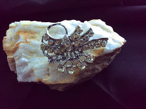 Vintage, Silvertone Back, Clear Rhinestone Brooch w/Loop, Jewelry 84
