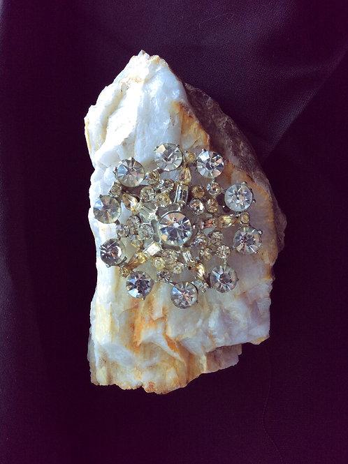 Vintage , Starburst White Rhinestone Brooch Pin, Jewelry 82