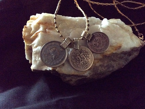 "Coin Necklace, 16"" , with 3 sizes coins, Jewelry 55"