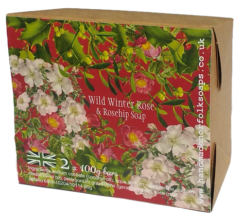 Wild Winter Rose & Rosehip Christmas Soaps  2 bar box