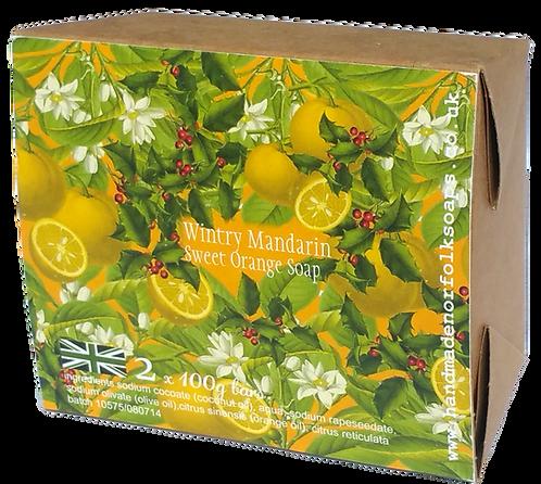 Wintry Mandarin Sweet Orange Christmas Soaps   2 bar box