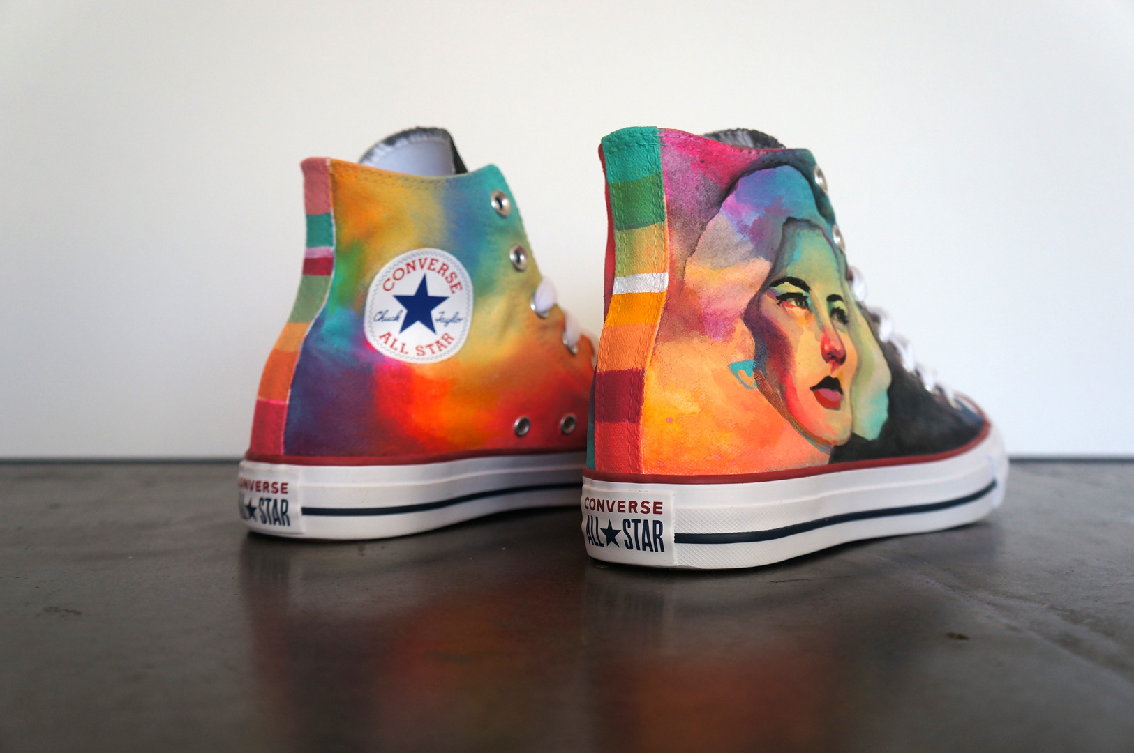 """ROYGBIV"" Custom Painted Converse Shoes"