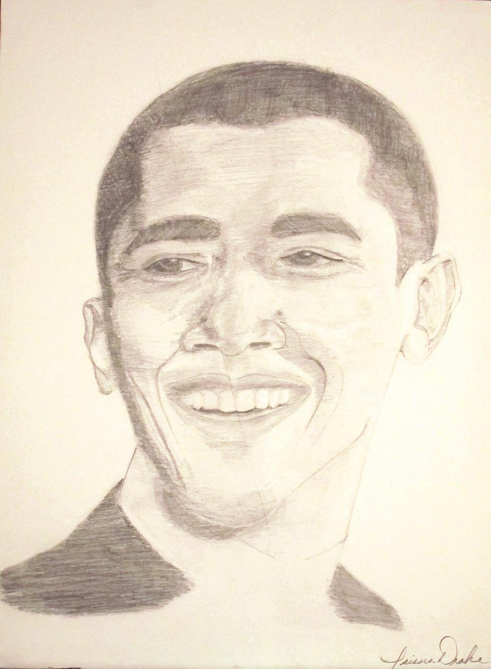Drawing of Barack Obama