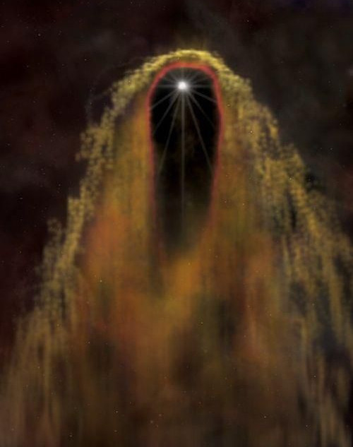 The Black Widow Pulsar | WordlessTech  This is an image of the Black Widow Pulsar moving through our galaxy at one million kilometers per hour. That is its bow shock wave. It looks like the grim reaper to me and if it passed too close to us.