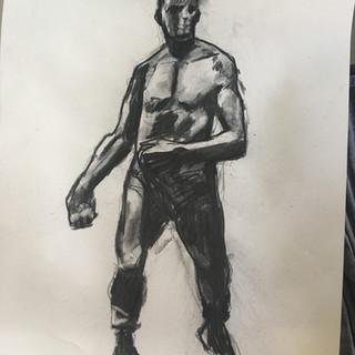 Charcoal drawing of Meunier sculpture