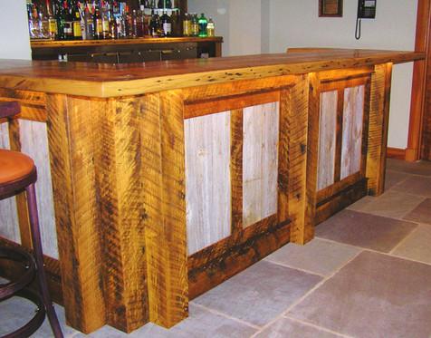 bar from white oak barn joists