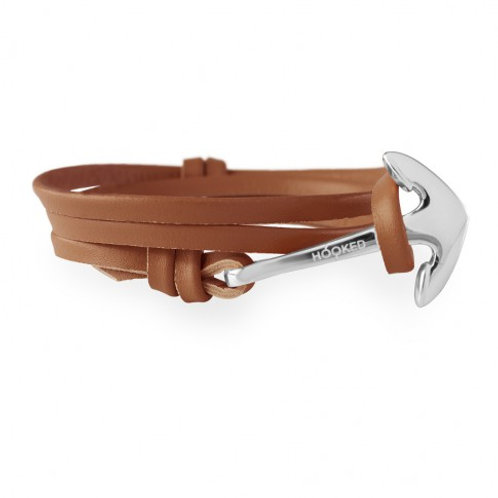 HOOKED Anchor Silver/ cognac Leather