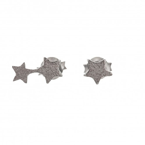 Betty Bogaers E585a Two Connected Star AND Small Star Earring Silver