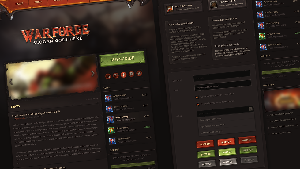 Warforge Game Webdesign