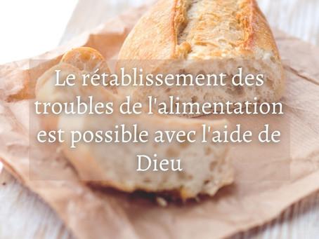 Le rétablissement des troubles de l'alimentation est possible avec l'aide de Dieu