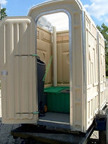 Trailer, Portable Toilets, Comfort Station, Flush, Single Axle, Double Axle, Road-Worthy, Wheels, Sink, Hand Wash, Handrail, Farm, Road, Construction, Military, Mobility, Immigrant, Oilfield
